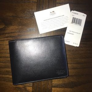 New Men's Coach black leather bifold wallet